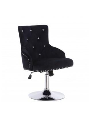 Claris Cristal - Fotel z kryształkami kosmetyczny czarny welur