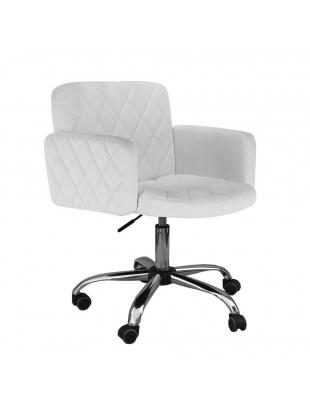 Peter - Fotel fryzjerski biały z kólkami