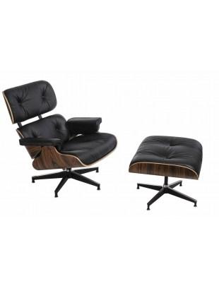 Fotel Vip z podnóżkiem Outlet czarny/rosewood/standard base