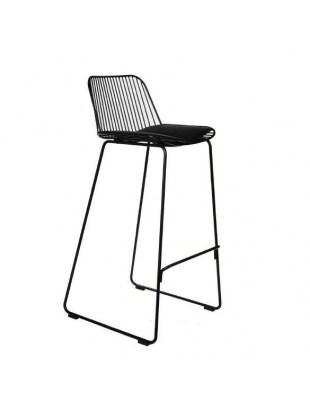 Krzesło barowe Dill High szare z czarnym siedziskiem Outlet