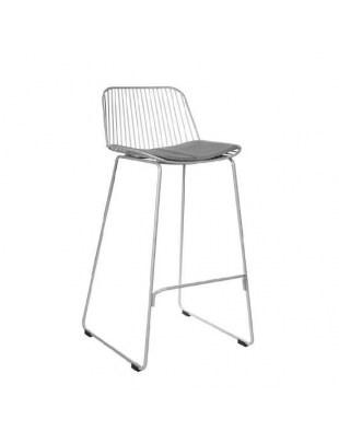 Krzesło barowe Dill Low szare z czarnym siedziskiem Outlet
