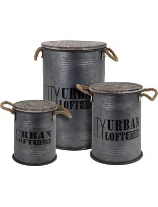 Zestaw 3 pojemników Urban Loft szare