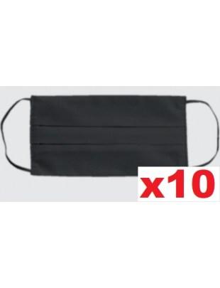 Maseczka wielorazowa bawełniana dwuwartwowa maska czarna 10szt
