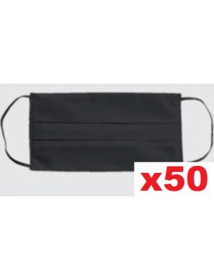 Maseczka wielorazowa bawełniana dwuwartwowa maska czarna 50szt