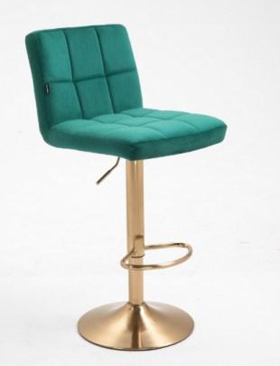 Lasgo - Krzesło fryzjerskie tapicerowane popielate, kółka