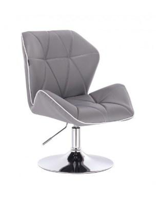 CRONO - Krzesło kosmetyczne szare ekoskóra WYBÓR PODSTAW