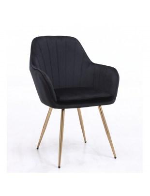 GLORIA - Czarny fotel do poczekalni welur złota podstawa
