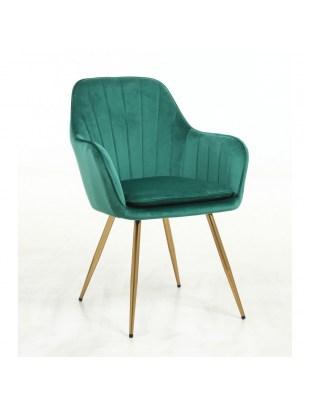GLORIA - Fotel do poczekalni butelkowa zieleń welur złote nogi