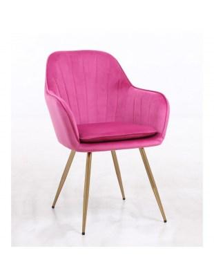 GLORIA - Welurowy fotel do salonu złota podstawa malinowy