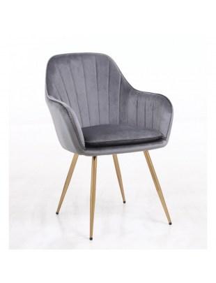 GLORIA - Welurowy grafitowy fotel do poczekalni
