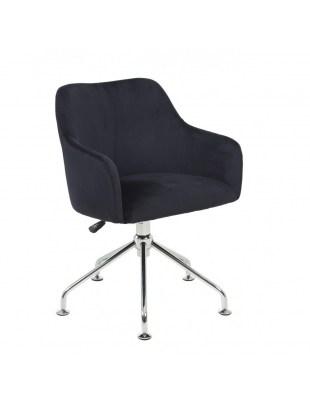 DAVINA - Czarny fotel fryzjerski tapicerowany podstawa pająk