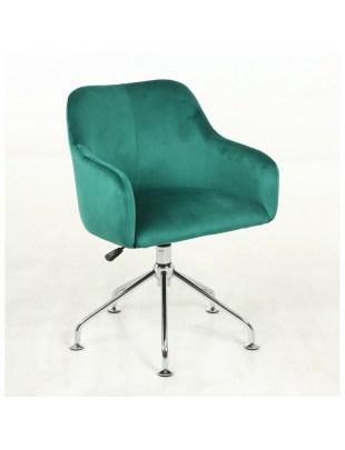 DAVINA - Tapicerowany fotel fryzjerski butelkowa zieleń pająk