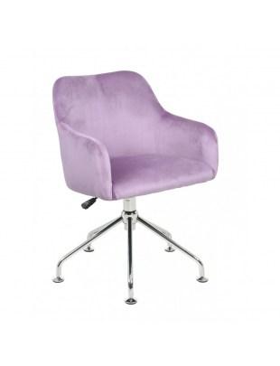 DAVINA - Fotel fryzjerski tapicerowany wrzosowy