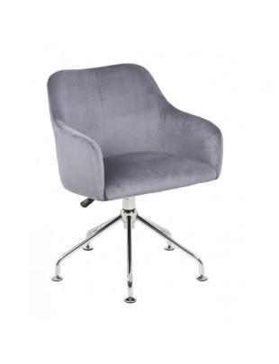 DAVINA - Tapicerowany fotel fryzjerski stalowy welur