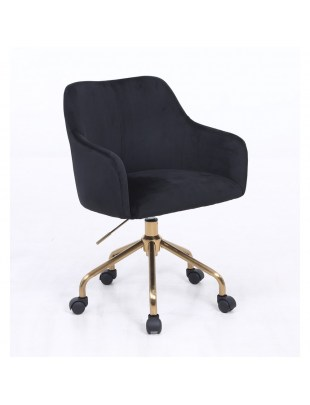 DAVINA Czarne krzesło kosmetyczne tapicerowane - złoty pająk kółka
