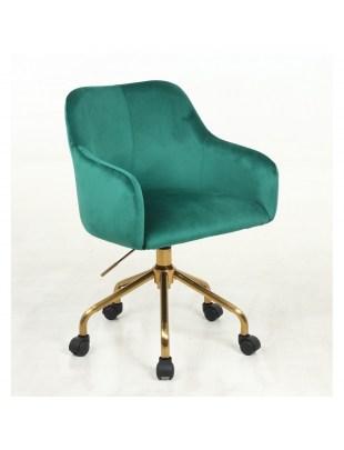 Krzesło kosmetyczne DAVINA butelkowa zieleń - kółka złoty pająk