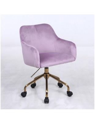 Krzesło kosmetyczne DAVINA wrzosowe - kółka złoty pająk