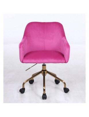 Krzesło kosmetyczne DAVINA malinowy welur - kółka złoty pająk