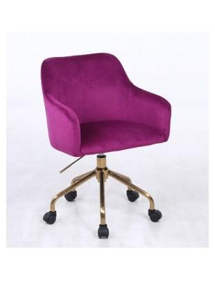 Krzesło kosmetyczne fuksja DAVINA - kółka złoty pająk