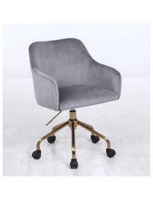 Krzesło kosmetyczne DAVINA stalowy welur - kółka złoty pająk