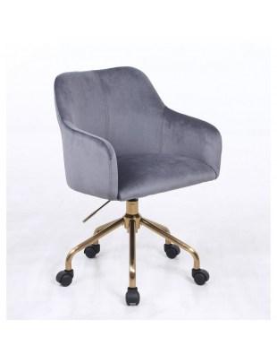 Krzesło kosmetyczne DAVINA grafitowy welur - kółka złoty pająk