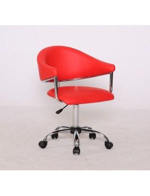 Carole Czerwony - Fotel fryzjerski na kółkach