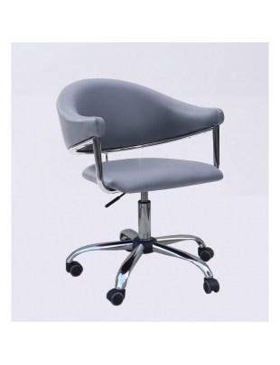 Carole - fotel fryzjerski szary na kółkach