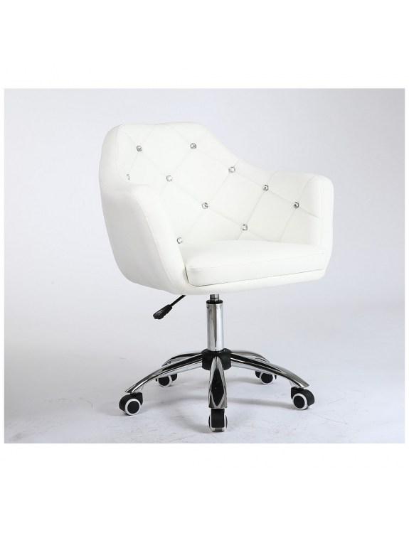 Blink - Fotel fryzjerski biały na kółkach