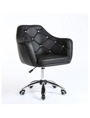 Blink - Fotel fryzjerski czarny na kółkach