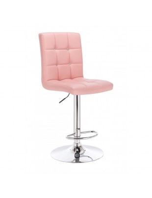 KRIS C - Obrotowy hoker kosmetyczny z podnóżkiem - różowy