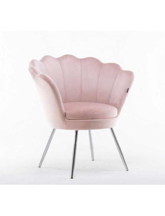 ARIA - Fotel pudrowy róż muszelka - chromowane nogi