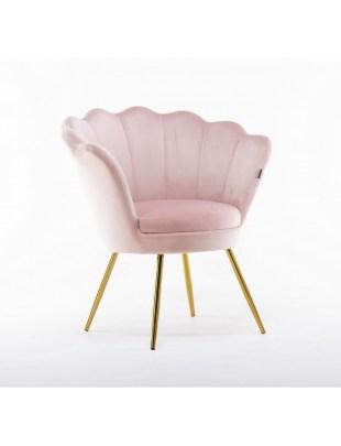 ARIA - Fotel muszelka do poczekalni złote nogi welur - pudrowy róż