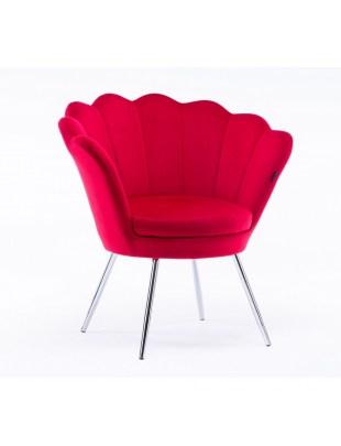 ARIA - Fotel czerwony muszelka welurowy - chromowane nogi