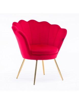 ARIA - Fotel muszelka do poczekalni złote nogi welur - czerwony