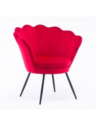 ARIA - Fotel muszelka do poczekalni czerwony welur - czarne nogi
