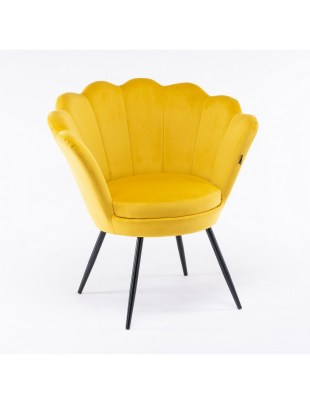 ARIA - Fotel muszelka do poczekalni żółty welur - czarne nogi