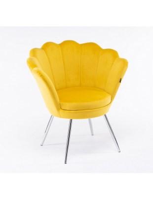 ARIA - Żółty fotel do poczekalni muszelka - chromowane nogi