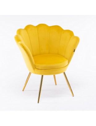 ARIA - Fotel muszelka do poczekalni złote nogi welur - zółty
