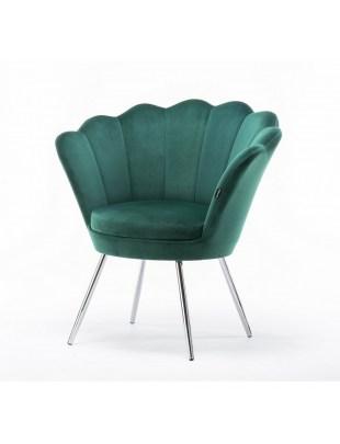 ARIA - Fotel do poczekalni muszelka butelkowa zieleń - chromowane nogi