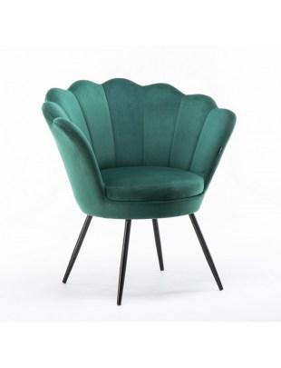 ARIA - Fotel muszelka do poczekalni butelkowa zieleń welur - czarne nogi