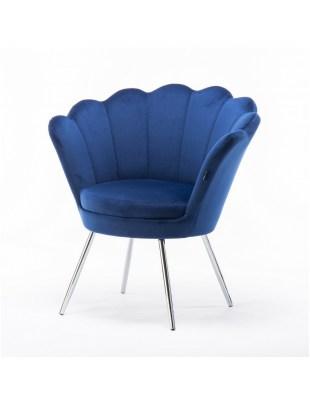 ARIA - Fotel do poczekalni muszelka ciemne morze - chromowane nogi