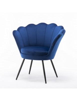 ARIA - Fotel muszelka do poczekalni ciemne morze welur - czarne nogi