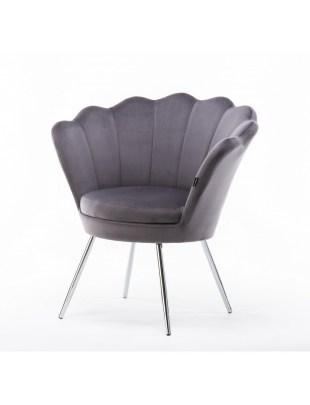 ARIA - Fotel do poczekalni muszelka grafitowy welur - chromowane nogi