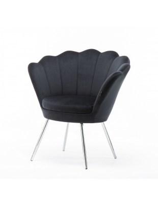 ARIA - Czarny fotel do poczekalni muszelka - chromowane nogi