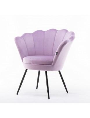 ARIA - Fotel muszelka welurowy wrzosowy - czarne nogi