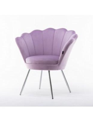 ARIA - Fotel do poczekalni muszelka wrzosowy welur - chromowane nogi