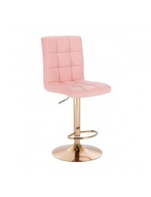 KRIS C - Kosmetyczny hoker wysoki z podnóżkiem - różowy