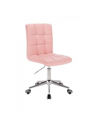 KRIS C - Obrotowe krzesło kosmetyczne - różowe