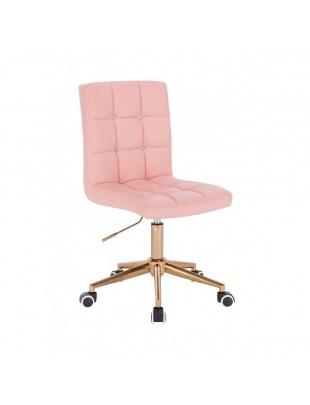 KRIS C - Różowe krzesło kosmetyczne obrotowe