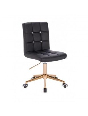 KRIS C - Czarne krzesło kosmetyczne obrotowe - kółka złote